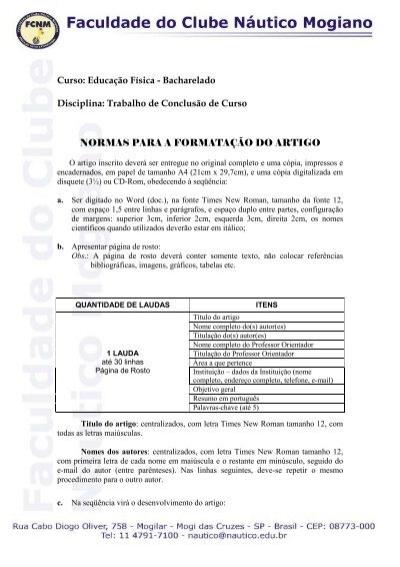 52a3928fcb Curso: Educação Física - Bacharelado Disciplina: Trabalho de ...