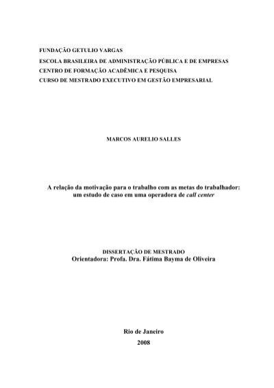 Marco Aurelio Salles A Relação Da Motivação Para O Trabalho