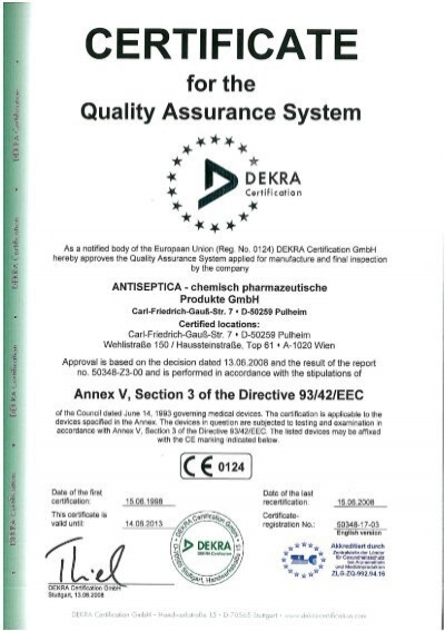 Page 1 CERTIFICATE for the Quality Assurance System DEKRA ...