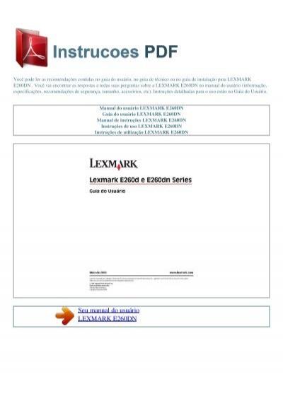 manual do usu rio lexmark e260dn instrucoes pdf rh yumpu com