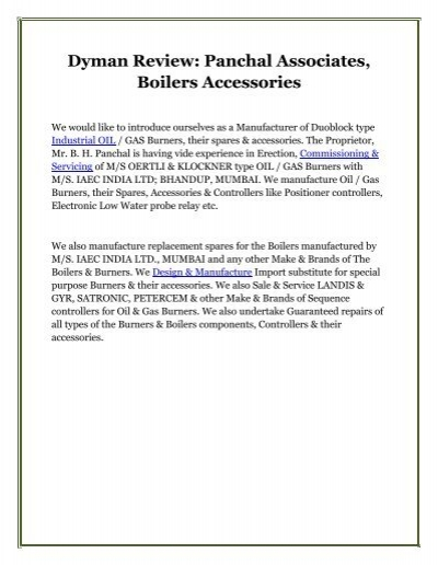 Dyman Review: Panchal Associates, Boilers Accessories