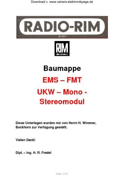 Baumappe EMS FMT - Rainers - Elektronikpage