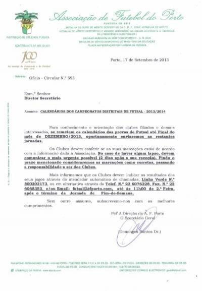 oficio circular nº.593 -calendários campeonatos distritais futsal 2013 . c258843e45a81