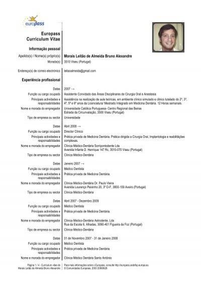 curriculum vitae europass medico dentista