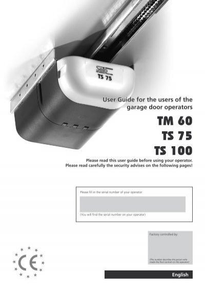 Seip Tm60 Tm80 User Manual Gryphon Garage Doors