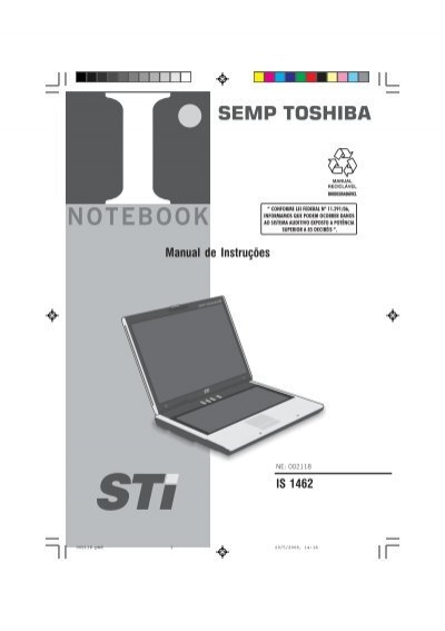 manual de instru es is 1462 semp toshiba rh yumpu com manual notebook semp toshiba is 1414 manual do notebook semp toshiba infinity is 1462