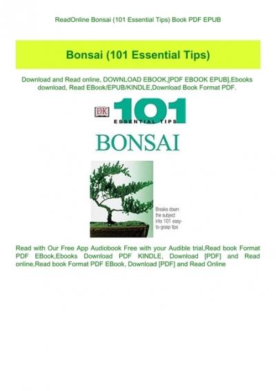 Readonline Bonsai 101 Essential Tips Book Pdf Epub