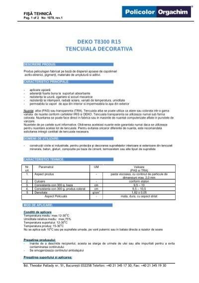 Temperatura Aplicare Tencuiala Decorativa.T8300 Tencuiala Decorativa Canelata R15 Deko Professional