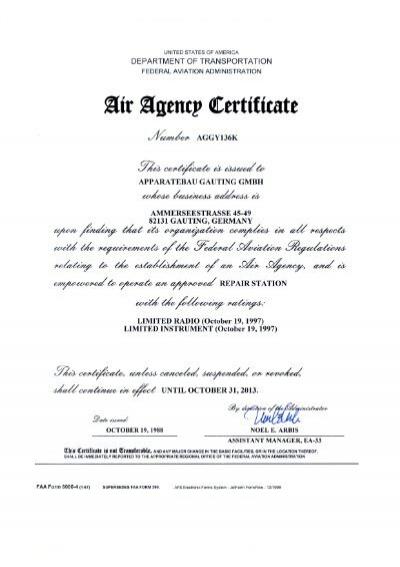 Air Agency Certificate AGGY136K - AOA Apparatebau Gauting GmbH