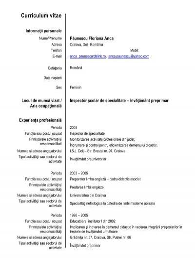 cv  anca paunescu pdf