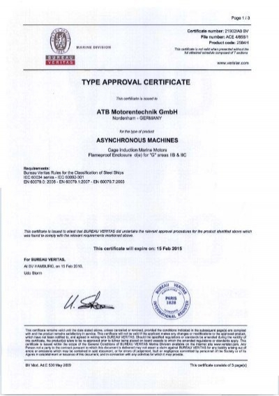type approval certificate bureau veritas up to 100kw mammoet. Black Bedroom Furniture Sets. Home Design Ideas