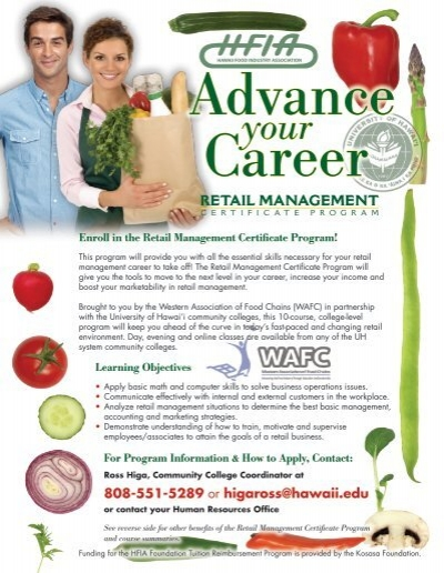 Retail Management Certificate Program - Hawaii Food Industry ...