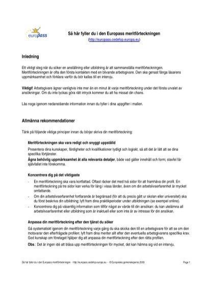instruktion f u00c3 u00b6r ifyllande av cv-mall