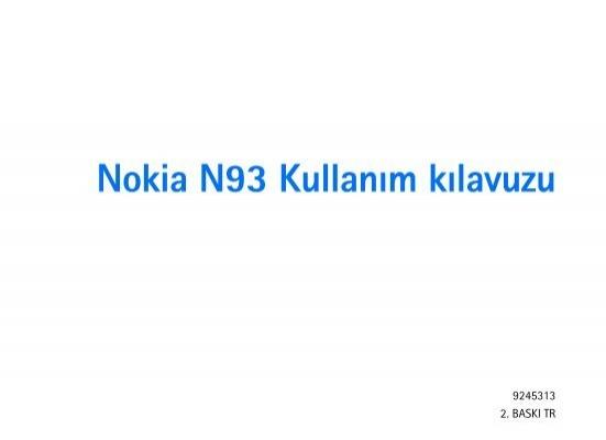Pdf Nokia N93 Kullanim Kilavuzu