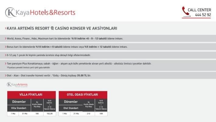 Kaya Artemis Resort Casino Konser Ve Aksiyonlari