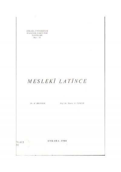 Mesleki Latince Ankara Universitesi Kitaplar Veritabani