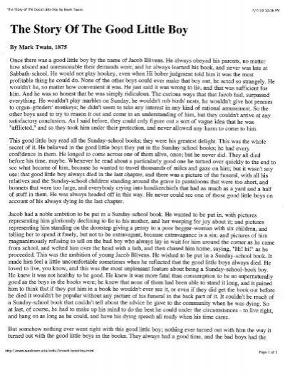mark twain the story of the good little boy