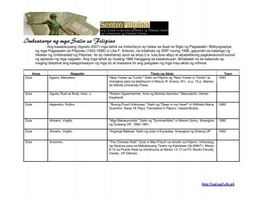 Imbentaryo ng mga Salin sa Filipino - Sentro Filipino - UP