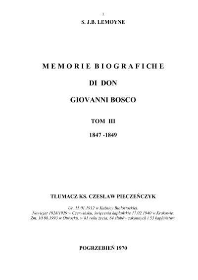Sjb Lemoyne Memoriebiografi Ch E Di Don Giovanni Bosco Tom
