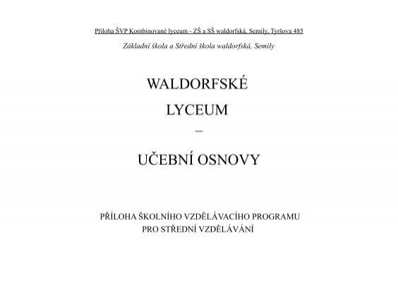 Waldorfske Lyceum Ucebni Osnovy Waldorfska Skola Semily