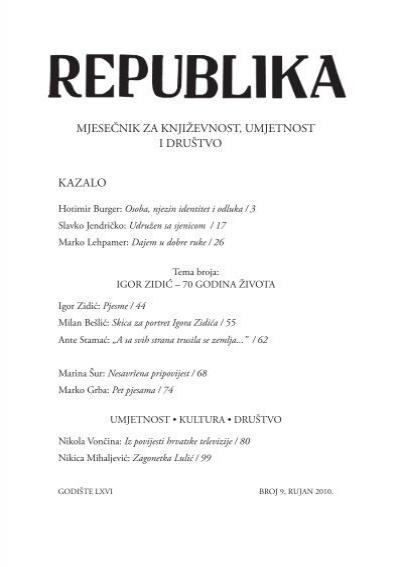 Republika Broj 9 Pdf Drustvo Hrvatskih Knjizevnika