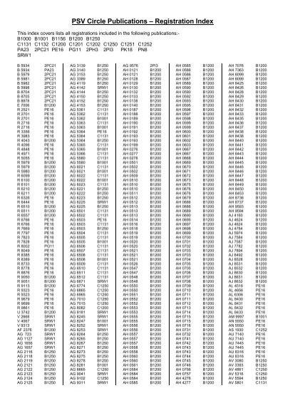 PSV Circle Publications – Registration Index - The PSV