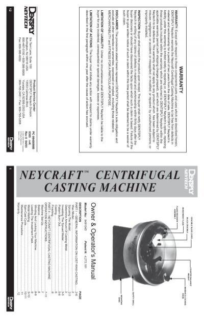 neycraft centrifugal machine