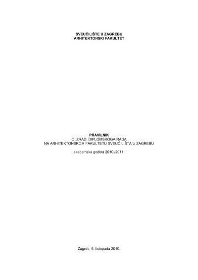 Pravilnik O Izradi Diplomskog Rada Na Af Pdf Arhitektonski Fakultet