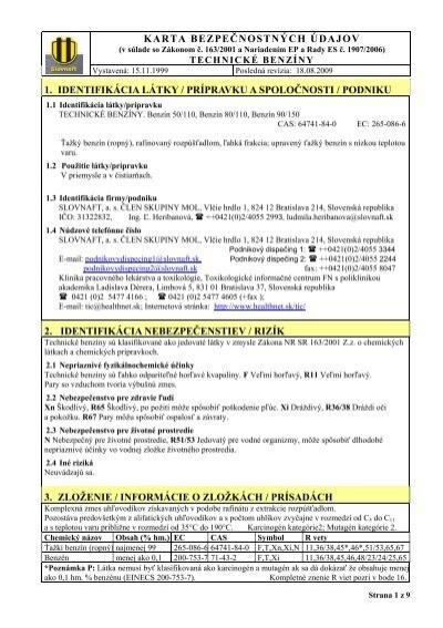 Karta Bezpecnostnych Udajov 1 Identifikacia Latky Slovnaft