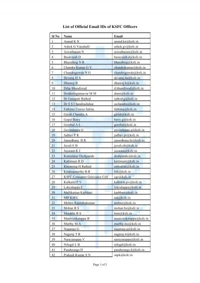 List of Official Email IDs of KSFC Officers - Ksfc in