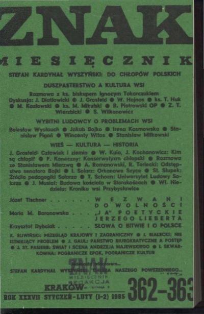 Nr 362 363 Styczeå Luty 1985 Znak