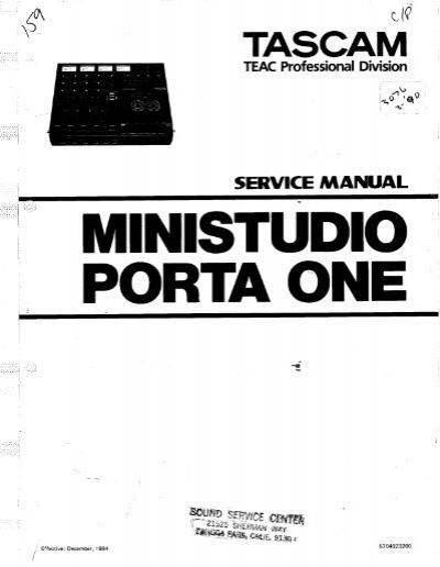 Tascam porta one manual