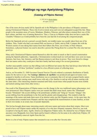 Catalog of Filipino Names - Philippine Culture