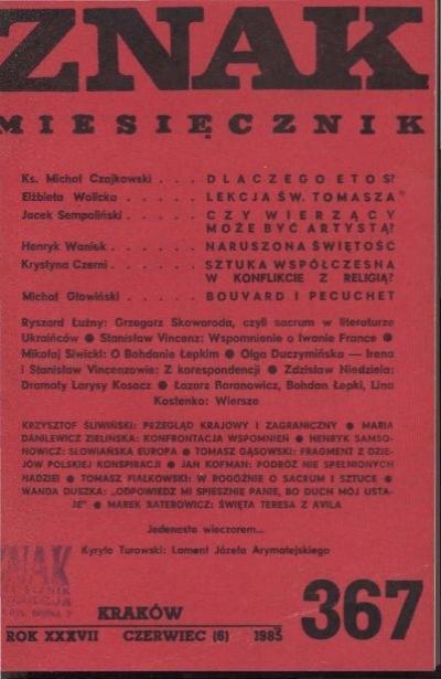 Nr 367 Czerwiec 1985 Znak