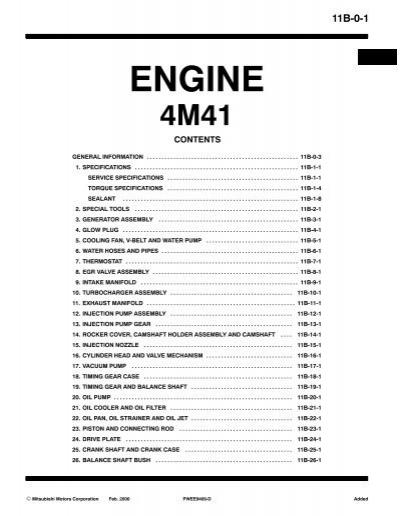 engine workshop manual 4m41 mitsubishi links rh yumpu com Mitsubishi Sirius Engine Mitsubishi Engine Ke