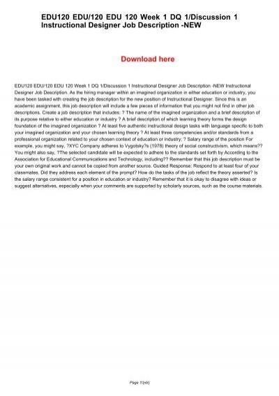 Edu120 Edu 120 Edu 120 Week 1 Dq 1 Discussion 1 Instructional Designer Job Description New