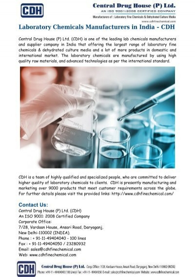 Laboratory Chemicals Manufacturers India – CDH