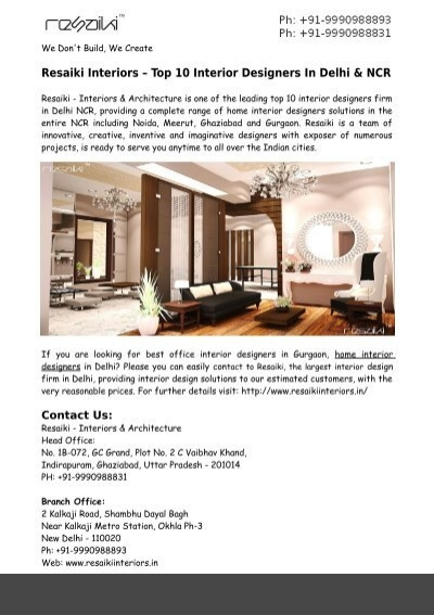 Home Interior Designers In Delhi Ncr Resaiki