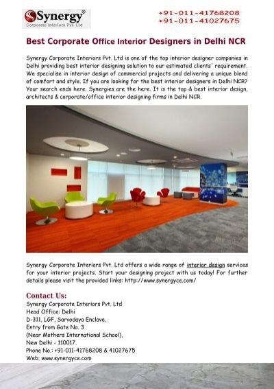 best corporate office interior designers in delhi