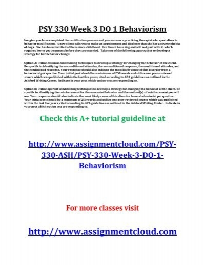 psy 355 week one dq anwsers Psy 355 week 4 dqs q uestion answer available $1200 – download ready solution checkout a nswer paper title: psy 355 week 4 dq.