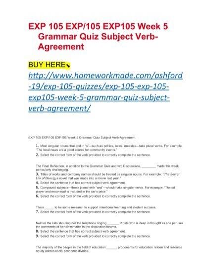 Exp 105 Exp105 Exp105 Week 5 Grammar Quiz Subject Verb Agreement