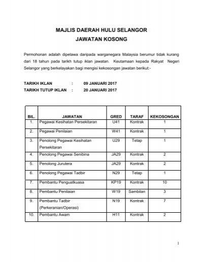 Majlis Daerah Hulu Selangor Jawatan Kosong