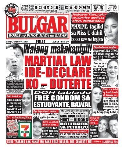 January 16, 2017 BULGAR: BOSES NG PINOY, MATA NG BAYAN