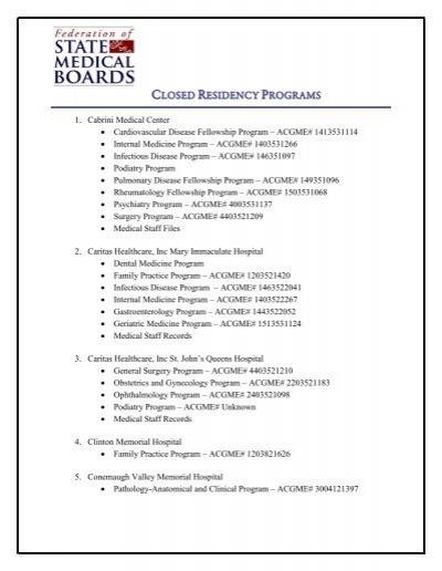 CLOSED RESIDENCY PROGRAMS