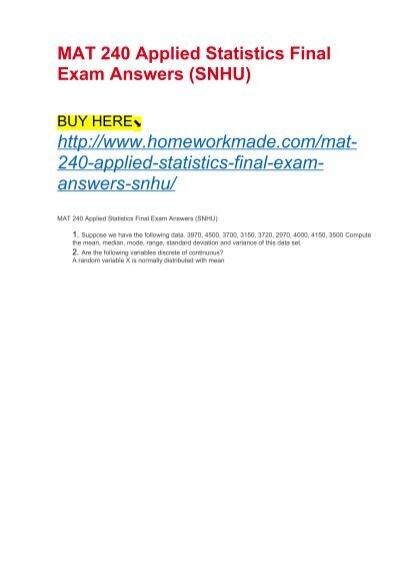 MAT 240 Applied Statistics Final Exam Answers SNHU