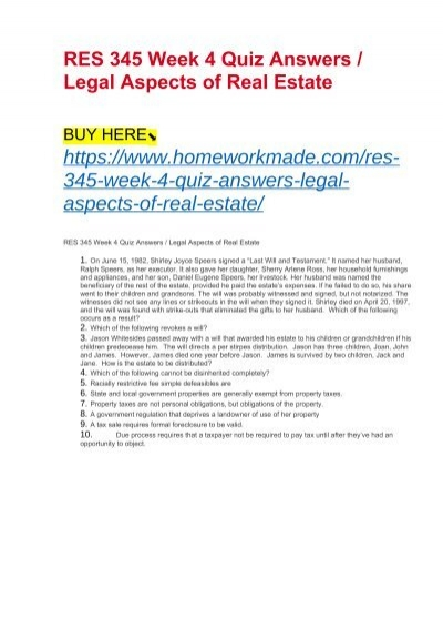 RES 345 Week 4 Quiz Answers : Legal Aspects of Real Estate