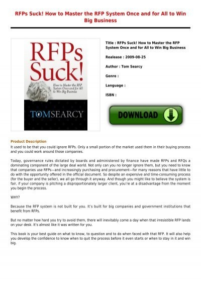 Rfps Suck How to Master the RFP System Once and for All to Win Big Business