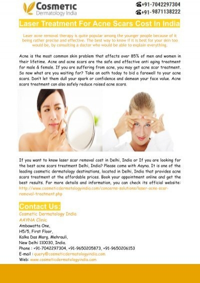 Laser Treatment For Acne Scars Cost In Delhi India