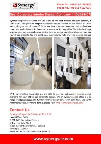 best corporate interior design company in delhi ncr
