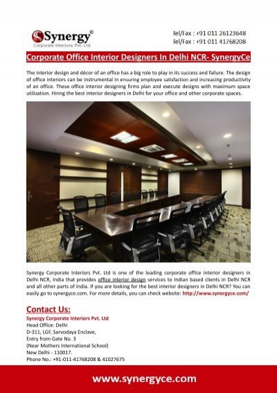 corporate office interior designers in delhi ncr synergyce